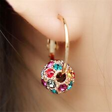Lovely Korean Women Colorful Crystal Rhinestone Ball Ear Stud Hoop Earrings