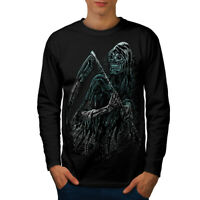 Wellcoda Reaper Killer Death Mens Long Sleeve T-shirt, Scary Graphic Design