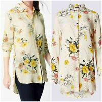 NEW Ex M&S Ladies Floral Print Shirt Dipped Hem Long Sleeve Shirt Size 8 - 24
