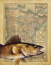 Vintage Walleye Fishing Minnesota State Map Art Print Fish Lures Resorts MAP03