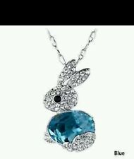 Cute blue Bunny Rabbit Charm Necklace Pendant Crystal Rabbit necklace EASTER