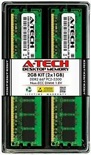 A-Tech 2GB 2 x 1GB PC2-5300 Desktop DDR2 667 MHz DIMM 240-Pin Memory RAM 2G 1G