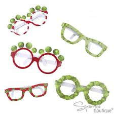 CHRISTMAS SPROUT GLASSES x 6 -Novelty Xmas Photo Booth Props -Fun- RANGE IN SHOP
