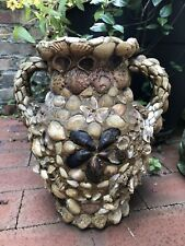 Antique Primitive Shell Art Seashell Encrusted Vase Folk Art Mosaic Cobalt Glass