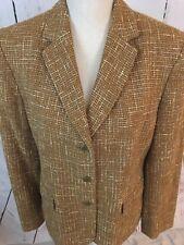 JONES NEW YORK Women's Size 12 Designer Jacket Tan Brown Tweed Career Work 12