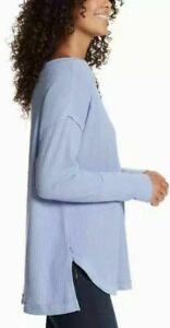 Vintage America Women's Thermal Knit Oversized Long Sleeve Shirt blue size M