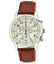 Seiko SNDC31 Chronograph Classic Brown Leather Beige Dial Men's Watch SNDC31P1