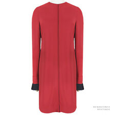 Victoria by Victoria Beckham Scarlet Red Navy Pleated Cuff Dress UK8 IT40