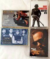 Lot Of 4 Cassette Tapes.- The Cars- Billy Joel- Bruce Springsteen- New Grass...