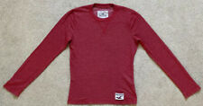 HOLLISTER MENS RED FINE RIBBED LONG SLEEVE T SHIRT TOP SIZE S
