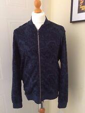 Pretty Green BNWT Paisley Blue Sweat Jacket Liam Galllagher