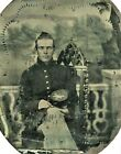 Civil War Tintype Sitting Union Soldier 1-B on Hat Different Studio Backdrop for sale