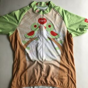 Sugoi Shirt XL Birds Of A Feather Green Short Sleeve Back Pockets Cycling