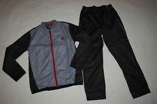 Boys 2 PC Track Suit GRAY & BLACK JACKET Zip Front ATHLETIC PANTS Pockets M L XL