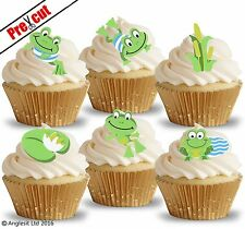 PRE-CUT CUTE FROGS EDIBLE WAFER PAPER CUP CAKE TOPPERS BIRTHDAY DECORATIONS