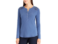 CHAPS Women's Embroidered Yoke 100% Cotton Blue Henley Top. Size L. $59. NWT