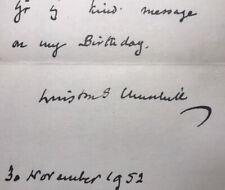 1952 WINSTON CHURCHILL THANK YOU CARD WITH SIGNATURE.  ORIGINAL!