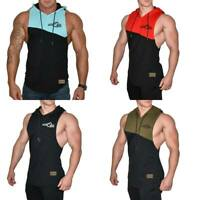 Mens Hooded Vest Tank Top, Gym Stringer Bodybuilding Tank Top SLEEVELESS COTTON