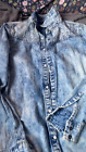 young girls denim shirt   with decor on front shoulders