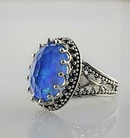 NEW! Sajen Blue Green Opalescent Quartz Cocktail Ring .925 Sterling Silver