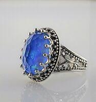 NEW! Sajen Blue Green Opalescent Quartz Cocktail Ring .925 Sterling Silver