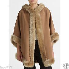 Femmes camel JOHN LEWIS fausse fourrure d'hiver à capuche cape manteau poncho 1 sz nouveau rrp £ 140