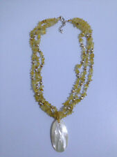 VGC LUCAS LAMETH LUC 925 Necklace Silver Citrine freshwater golden pearls Shell