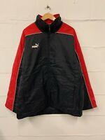 Men's PUMA Padded Coat Jacket Black Red Full Zip | Size Large L