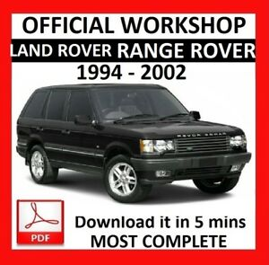OFFICIAL WORKSHOP Manual Service Repair LAND ROVER RANGE ROVER 1994 - 2002