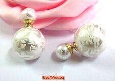 Modern Fashionable White Stroke & Stripe Double Stud Earrings - Simulated Pearls