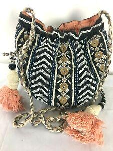 Jasper and Jeera Embroidered Beaded Tassels Hippie Boho Shoulder Crossbody Bag