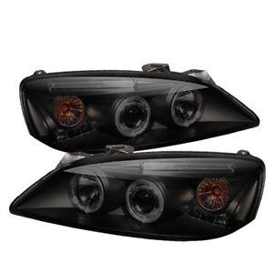 Pontiac 05-10 G6 Black Smoke Dual Halo LED Projector Headlights GT GTP GXP Base