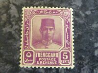 MALAYAN STATES TRENGGANU POSTAGE STAMP SG32A 5 CENTS LIGHTLY-MOUNTED MINT