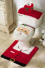 3p Santa Commode Set Toilet Seat Cover Rug Christmas Holiday Bath Decor Bathroom