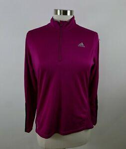 Adidas Womens Polyester Clima Cool LS 1/4 Zip Fuchsia Pink Activewear Shirt L