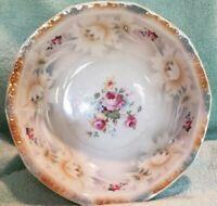"""Vintage Bavaria Orange/Blue Lusterware 8-1/2"""" Floral Serving Bowl"""