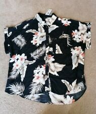 River Island Floral Cotton Oversized Short Sleeved Blouse Top Uk 12 New