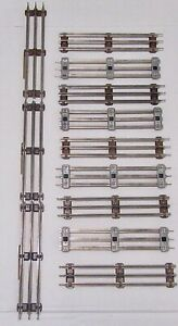 """Lionel 0 gauge  9"""" Steel Straight Tracks  With Brown Ties ( Lot of 12 pieces)"""