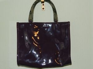 NEIMAN MARCUS HANDBAG WITH GRAY & BLACK SWIRLY PLASTIC HANDLES