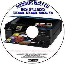 EPSON PX730WD TX730WD & ARTISAN 730 PRINTER WASTE INK PAD RESET UTILITY NEW CD