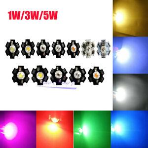 1W 3W  Watt High Power LED SMD Chip UV White Blue Deep Red RGB Beads 20mm PCB