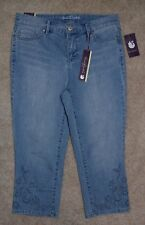 New Gloria Vanderbilt 4P Crop Jeans Jordyn Capris Embroidered Slimming Stretch