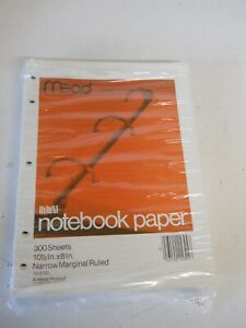 PARTIAL PACKAGE 275+ MEAD NARROW RULED 10-1/2X8in BRIGHT WHITE SHEETS SHIPS FREE