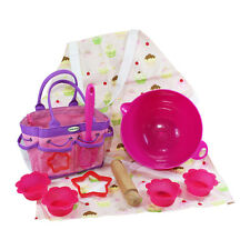 Little Pals Kids Baking Set Pink With Apron Carry Bag Bowl Spoon Rolling Pin