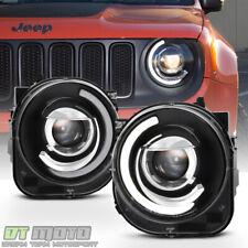 Blk 2015-2018 Jeep Renegade LED DRL Tube Mono-Eye Projector Headlights Headlamps