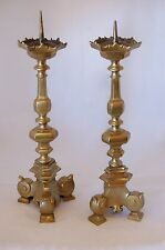 IMPRESSIVE PAIR OF 17TH C. PRICKET ALTAR CANDLESTICKS; PROBABLY FLEMISH
