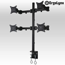 Ergolynx QUAD SCREEN VESA monitor braccio scrivania Mount quattro LCD LED TV clamp 4