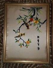 Vintage Silk Embroidery Japanese Chinese Asian pictures (lot of 2) Birds