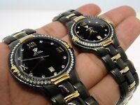 Womens And Mens Black Aqua Master Diamond Watch Set