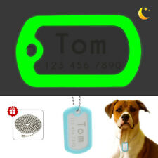 Personalized Dog ID Tag Pet Name Disc Disk Engraved Dark Glowing Rubber Silencer